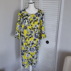NWT Yellow, Black, White Floral Dress w/Polka Dots